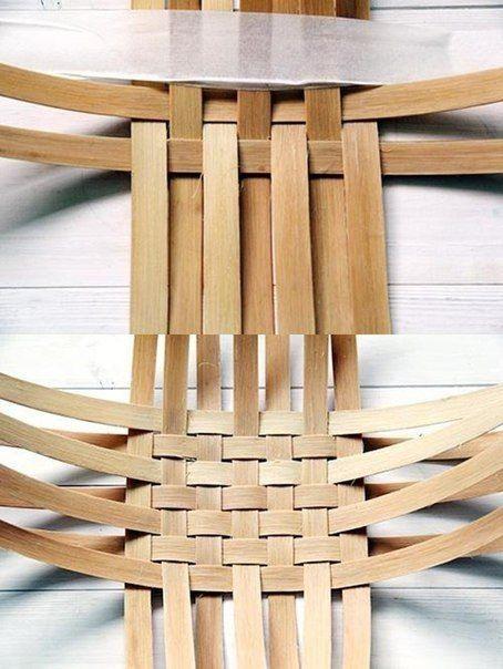 Плетём корзинку из шпона. Фото урок